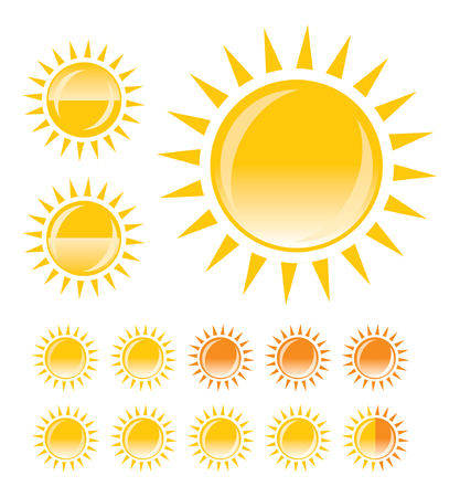 yellow sun. vector template for buttons or icons Ilustrace