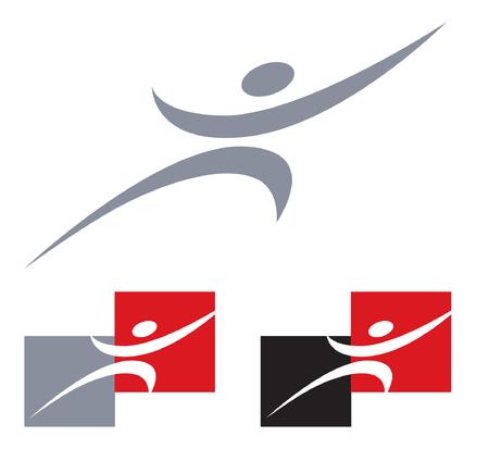 man strives for a goal. Logo template Ilustrace