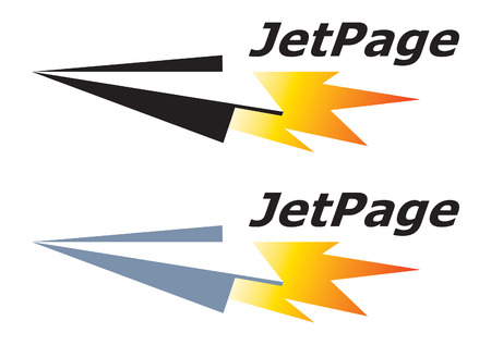 Jet Page. Paper airplane. Logo template