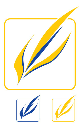 yellow-blue leaves. Logo template, vector graphic element