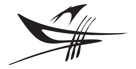 graphic image of a sailing boat. logo template