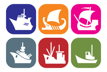set of icons with images of ships