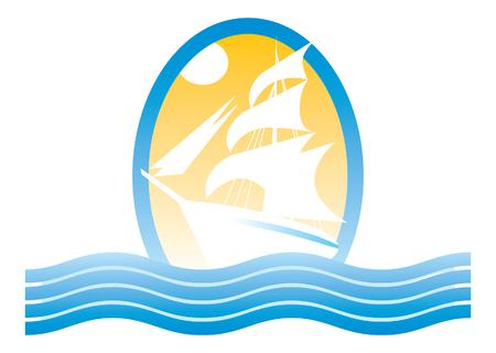 sailing ship at sea. vector image for logo or illustration
