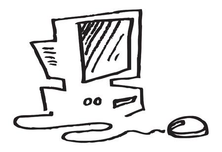 Old desktop computer, mouse, monitor. vector image for illustration