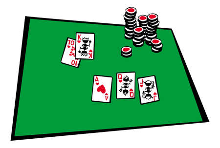 poker table. cards, royal flush combination. vector drawing for illustrations