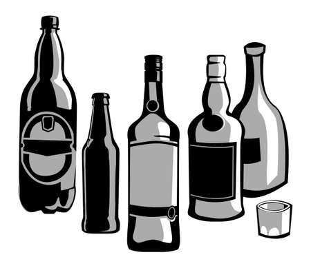 bottle collection. vector drawing for illustrations