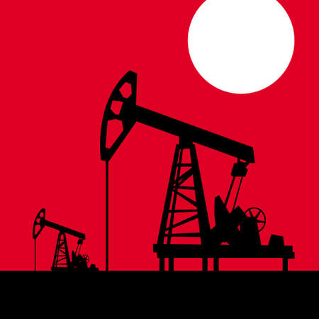 Oil pump on a background of red sky. vector drawing for illustrations Çizim