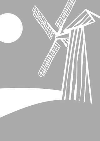 old windmill. vector drawing for illustrations Çizim