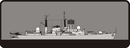 Royal Navy Guided Missile Destroyer. Side view. Vector template for illustration. Illusztráció