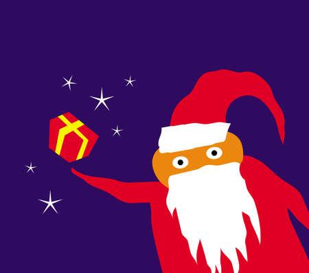 Comic image of cute Santa. Santa Claus. New Year. Merry Christmas. Vector template for greeting card.