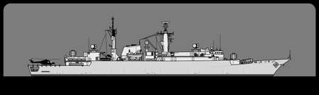 Royal Navy frigate. Side view. Vector template for illustration.