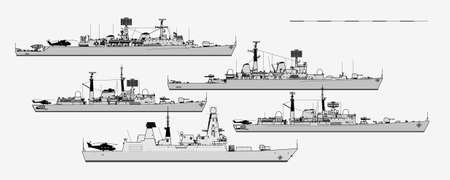 Royal Navy. Postwar British guided missile destroyers. Side view. Vector template for illustration.