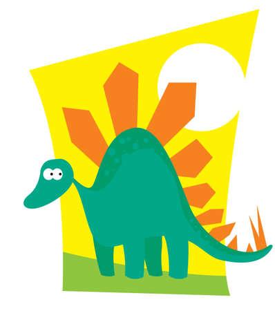 Funny cartoon dinosaur. Vector image for illustration  イラスト・ベクター素材