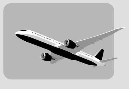 Flying airplane, takeoff airliner, commercial jet aircraft, airliner. Vector illustration. Vector template.