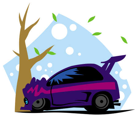 car crashed into a tree. vector image for illustration