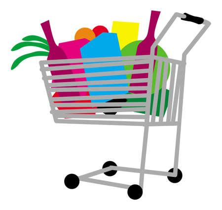 Shopping cart full of any goods. vector image for illustration