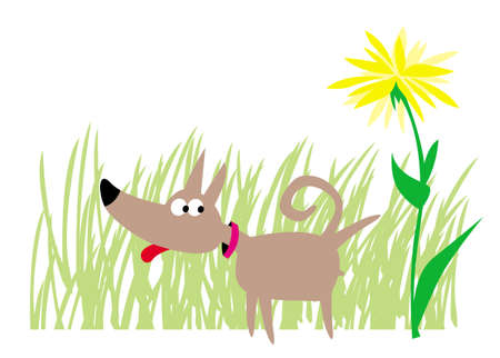 little dog and flower in the park. vector drawing for illustrations 写真素材 - 150639339