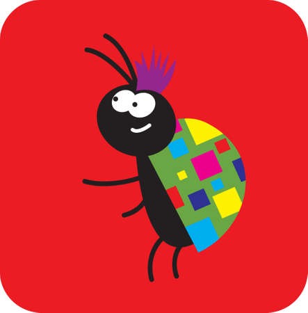 life of insects. very fashionable beetle. vector drawing for Illustration.