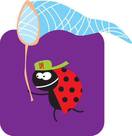 life of insects. beetle with a butterfly net on the hunt. vector drawing for Illustration. Ilustracja