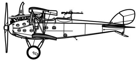 World War 1 reconnaissance aircraft. LVG C.VI. Side view. Image for illustration and infographics.