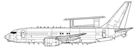 Vector drawing of airborne early warning and control aircraft. . Side view. Image for illustration and infographics.