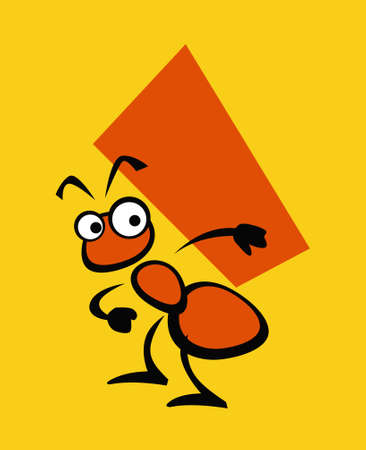 Ant as a good builder. Simple drawing. Vector drawing for logo and illustrations.
