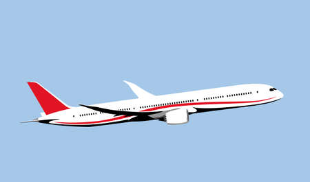 Elegant jet airliner takes off into the sky. Vector drawing for illustrations.