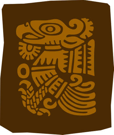 Ancient maya drawing. A fragment of an ornament. Vector drawing illustrations.