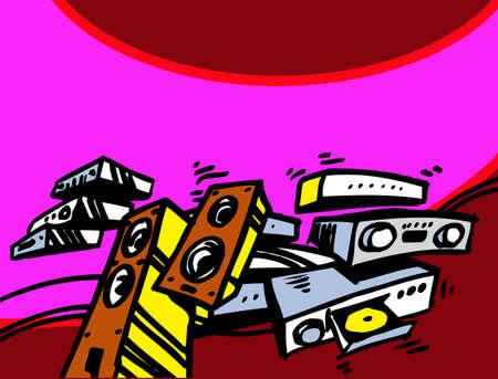 Music shop. Audiophile's dream. Collection of audio components. Vector image for illustration. Illusztráció