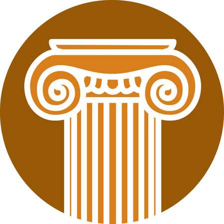 Stylized image of a Greek column. Decorative element. Logo template. Vettoriali