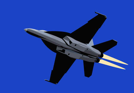 Air power. Afterburner navy jet fighter. Vector image for illustration.