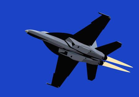 Air power. Afterburner navy jet fighter. Vector image for illustration.