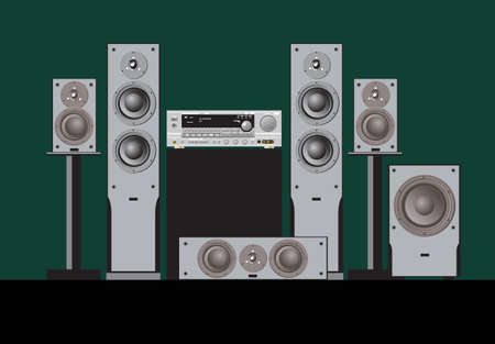 Sound shop. Quality components for quality sound. Acoustic system, amplifier, receiver, subwoofer, home theater. Vector drawing for prints or illustrations.