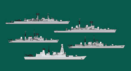 Naval forces. Set of silhouettes of modern combat ships. Vector image for illustration. Çizim
