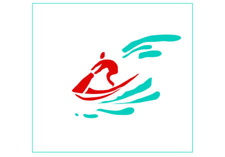 Recreation and sports on the water. Stylized image of a man on a jet bike. Vector image for  icon or illustration.