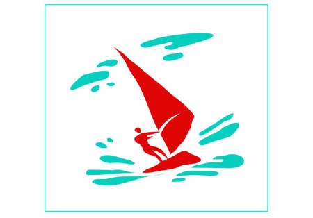 Recreation and sports on the water. Stylized image of a man on a sailing board. Vector image for  icon or illustration.