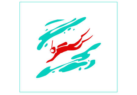 Recreation and sports on the water. Stylized image of a scuba diver. Vector image for  icon or illustration. Vectores