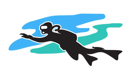 Scuba diving. Stylized drawing of a swimming diver.