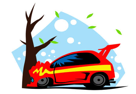 Road incident. Red car crashed on a tree. Vector image for illustrations.