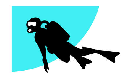 Underwater diving. Silhouette of a swimming diver. Vectores