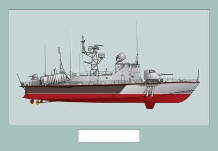 Military ship. Poster with a detailed image of a warship. Vector image for illustrations and infographics.