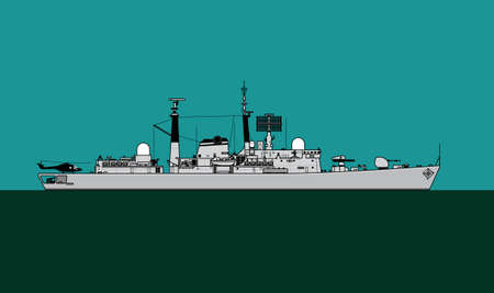 Modern navy. Silhouette of a guided missile destroyer. Vector image for illustrations and infographics.