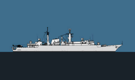 Modern navy. Silhouette of a anti-submarine frigate. Vector image for illustrations and infographics.
