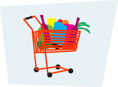 A raid on a supermarket. The cart is full of useful goods. Vector image for illustrations.