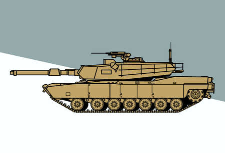 Fighting machine. Modern main battle tank. Vector image for illustrations and infographics.