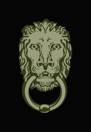 Exterior decor element. Old house. Door ring in the form of a lion's head.
