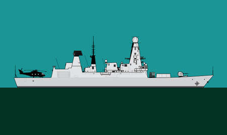Modern warship. Royal navy guided missile destroyer. Vector image for illustrations and infographics.