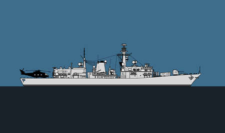 Modern warship. Royal navy anti-submarine frigate. Vector image for illustrations and infographics.