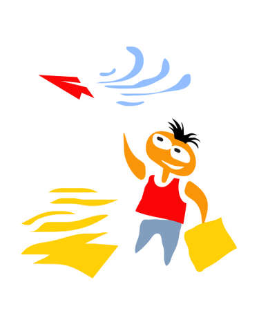 Dream. Boy Launches Paper Plane. Vector image for illustrations.