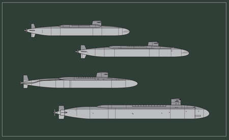 Silhouettes of nuclear submarines. Underwater Cold War. Vector image for illustrations and infographics. Ilustração
